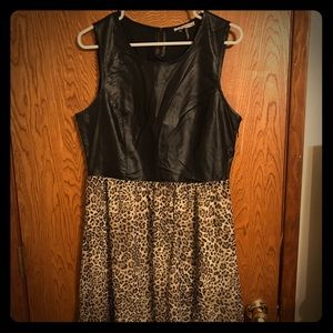 High Low Leopard and Vegan Leather Dress XL